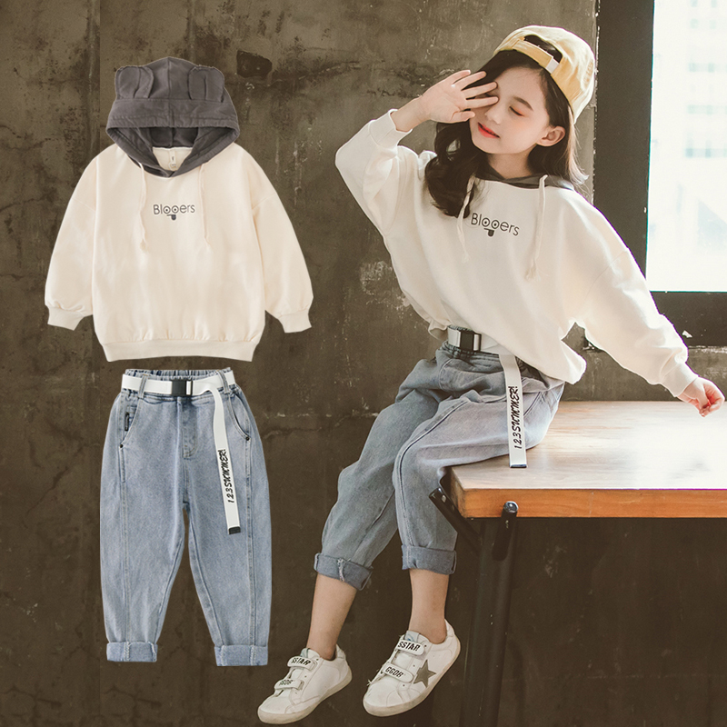 Fashion Girls Fall Outfits Hooded Sweatshirt & Jeans 2pcs Sets Child Boutique Clothing  10 12 Year Teen Clothes Set Spring 2020