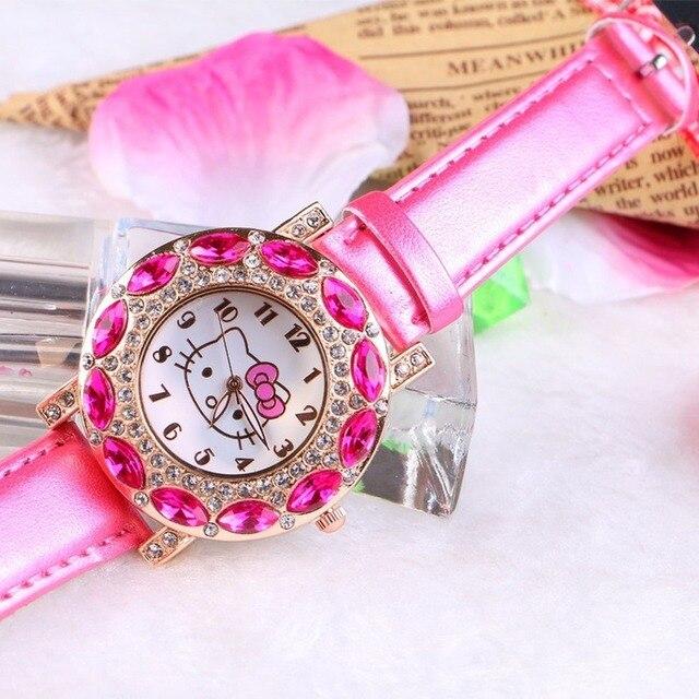 Kt gato crianças relógio de pulso de quartzo moda casual menina relógio crianças bonito pulseira de silicone atches linda 3