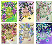 Diamond Painting 5D DIY flower butterfly cage Scenic Diamond Embroidery Cross Stitch Home Furnishing decoration(China)