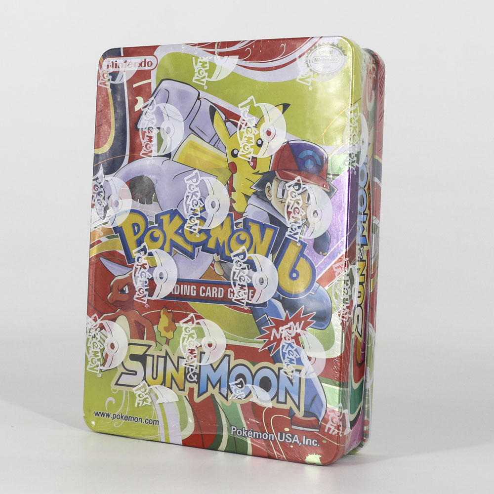 Takara Tomy Pokemon Cards Collection Board Game 123pcs Flash Battle Toys Shining Big Metal Box For Kids Gifts