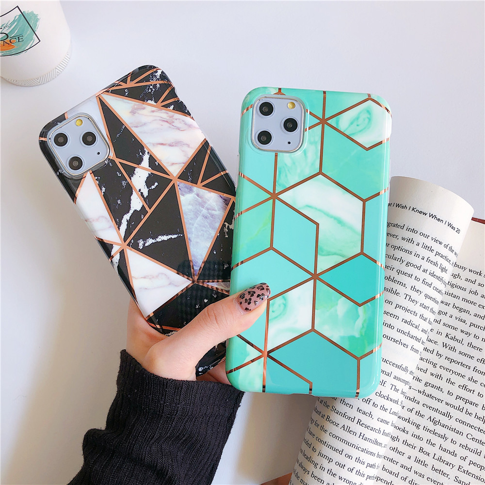 Glitter Marble Phone Case For iPhone 6 XR 11 Case Plating grid Wave Color Cover For iPhone 6S 7 8 Plus X Xr Xs Max Case Capa 11