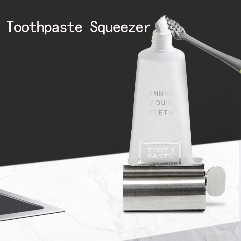 Toothpaste Squeezer Bathroom Accessories Set Toothpaste Dispenser Toothbrush Holder Rolling Tube Stainless Steel Rack Holder