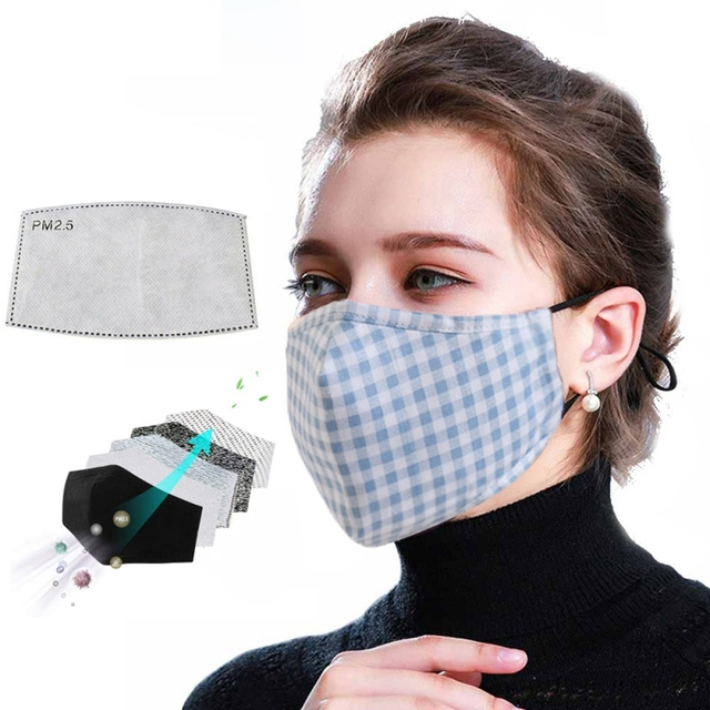 Anit PM2.5 Dust Mask Protective Activated Carbon Filter Mouth-muffle Bacteria Proof Flu Face Masks With 1 filter