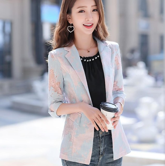 2021 Women Blazer Lace Printed Temperament Slim Suit One Button Notched Office Lady Black White Pink Blue Blazers Plus Size 3xl 2