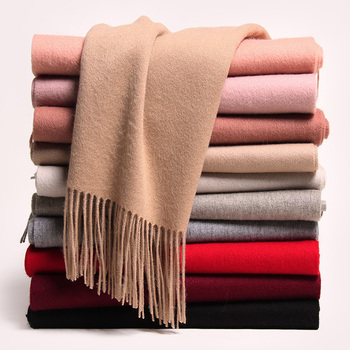 Winter 100% Wool Scarf For Women Warm Solid Wool Shawls Wraps Pashmina For Ladies Tassel Long Cashmere Scarves Foulard Femme woman winter wool scarf blanket plaid oversize wraps with tassel ladies soft warm pashmina foulard femme big blanket scarves