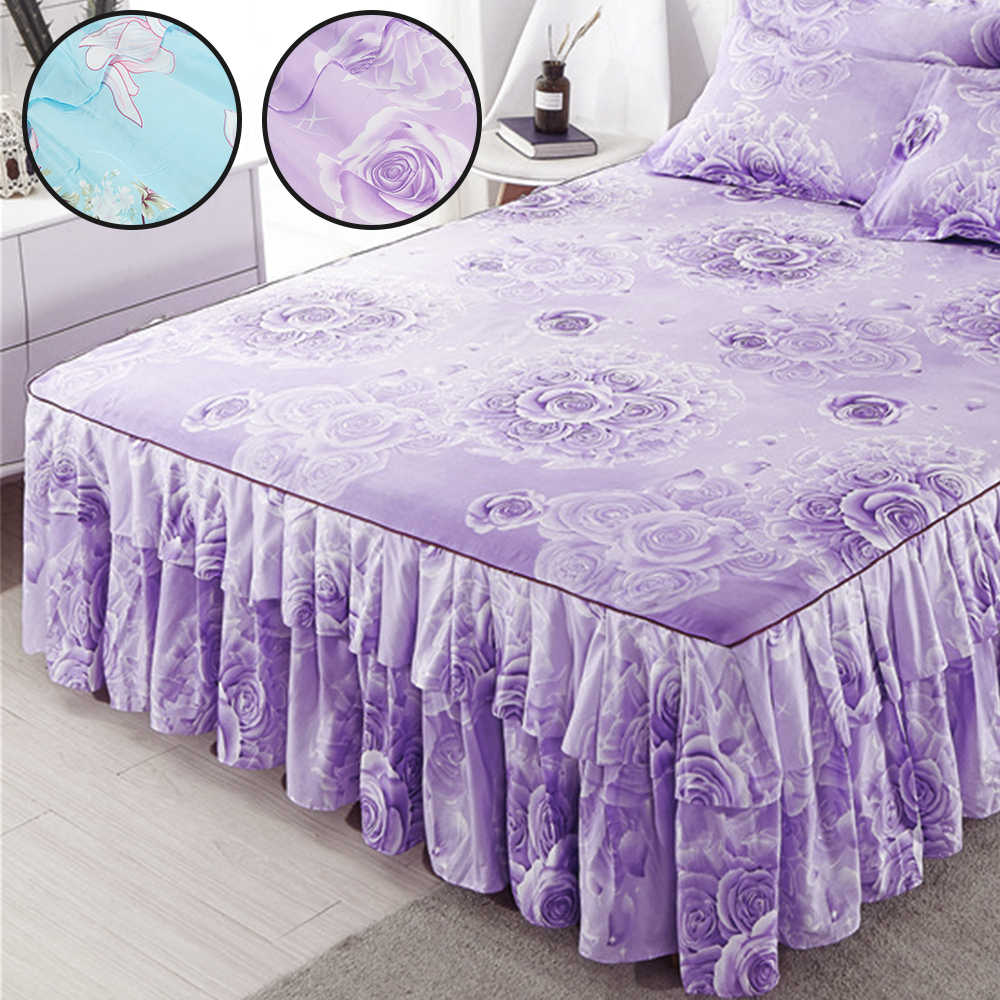 Printed Bed Skirt Pillowcase Elegant Chiffon Bed Cover Dustproof and Dirty for Wedding Decor Bed Cover Pillowcase Bed Skirt Kit