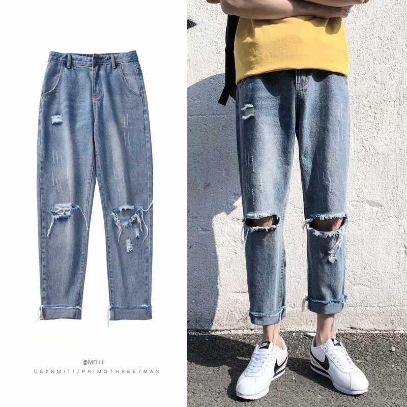 2019 Summer New Fashion Casual Men's Jeans Male Spring Autumn Streetwear Loose Keen Holes Frayed Ankle Length Denim Trousers