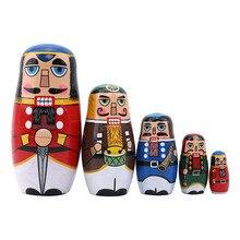 Beste Verkauf 5 Teile/satz Nussbaum Russische Puppen Hand Bemalt Wohnkultur Geburtstag Geschenke Baby Spielzeug Nesting Dolls Holz Matryoshka