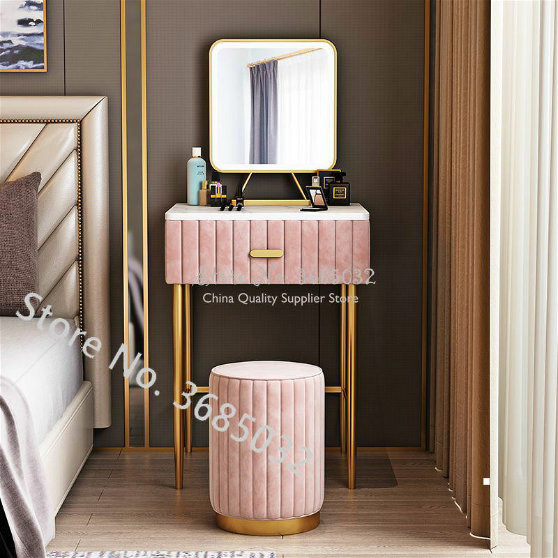Marble Tabletop Dresser Table Set With Drawer And Smart Light Mirror And Stool Make-up Dresser Table Iron Nordic Furniture 40cm