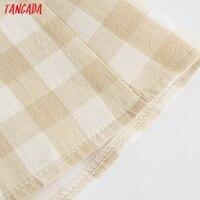 Tangada Women Plaid Print Summer Dress Sleeveless Backless 2021 Summer Fashion Casual Dresses Vestido 4N71 5