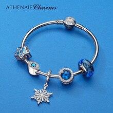 ATHENAIE authentique 925 en argent Sterling étoilé Bracelets à breloques Bracelets avec perles breloque CZ pour les femmes noël jour bricolage cadeau