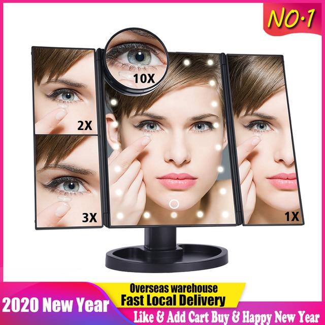 LED Touch Screen 22 Light Makeup Mirror Table Desktop Makeup 1X 2X 3X 10X Magnifying Mirrors