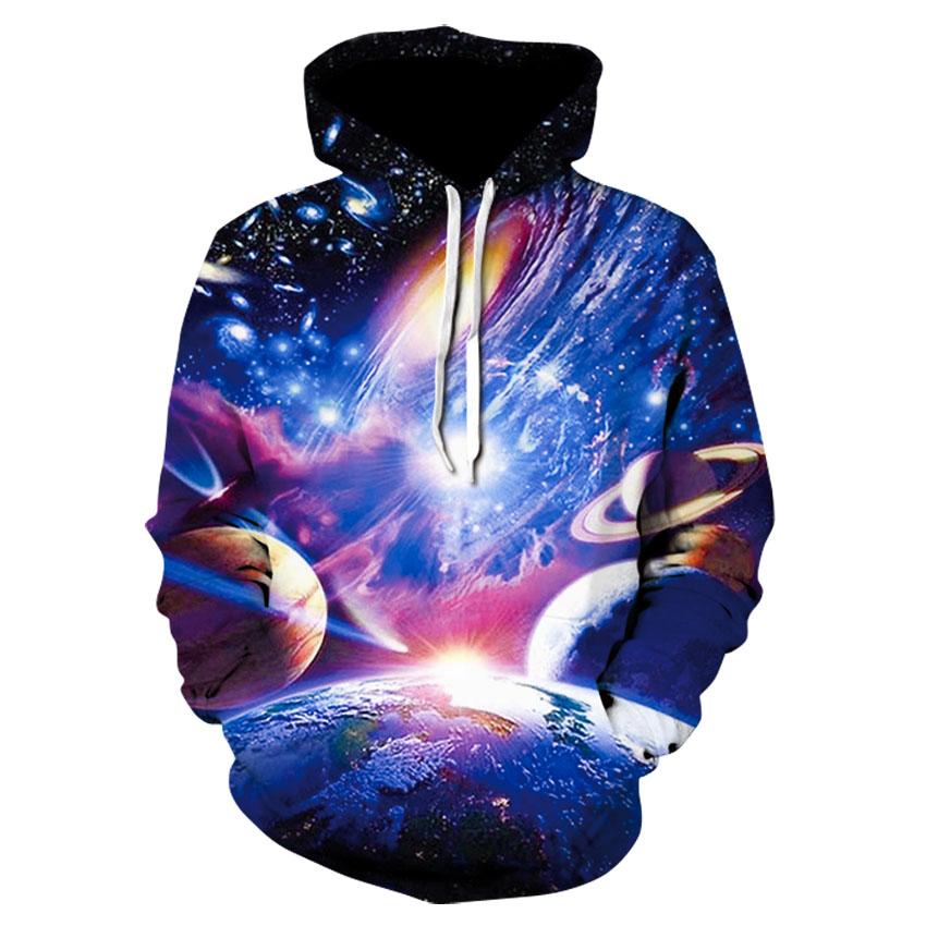 Spring And Autumn Brand Fitness Hoodie 2020 New Design Of 3D Printed Planet Hoodie Trend Skateboard Sweatshirt