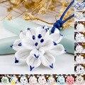 Винтажный стиль синий и белый керамический Ручной Работы Подвеска ввиде цветка лотоса ожерелье в китайском стиле этнический стиль длинное ...