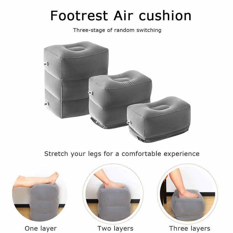 Uçuş uyku Footrest yastık katlanabilir şişme seyahat ayak yastık taşınabilir uçak tren çocuk yatağı ayak istirahat pedi puf chambre