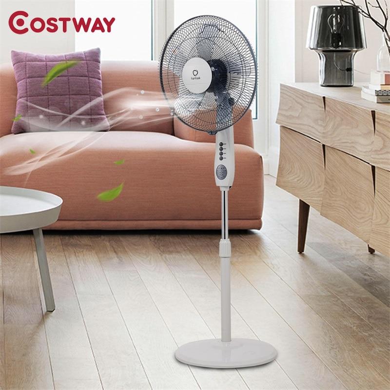 Costway lames 3 Mode réglable en hauteur télécommande piédestal ventilateur 3 paramètres de vitesse du vent bureau chambre salon EP23438