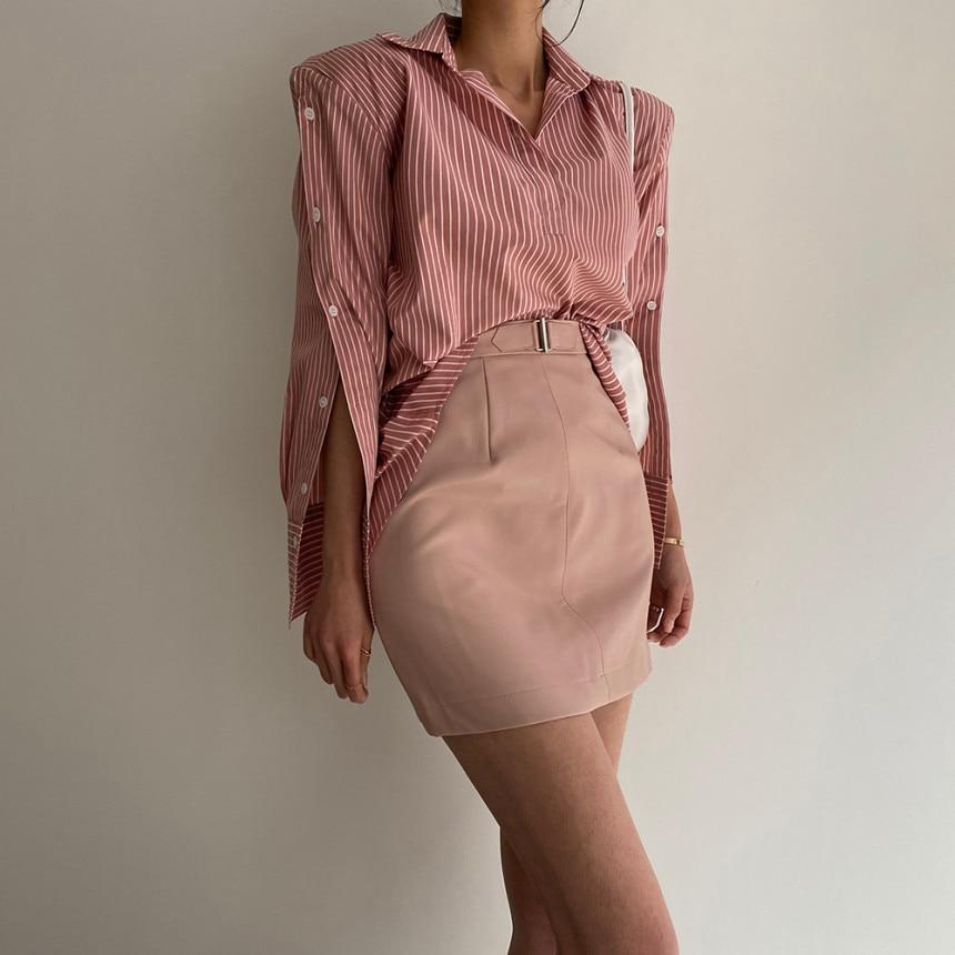 H2dc8ba2423514f1592c1fb3ac3d75c895 - Spring / Autumn Turn-Down Collar Long Sleeves Back Slit Loose Striped Blouse