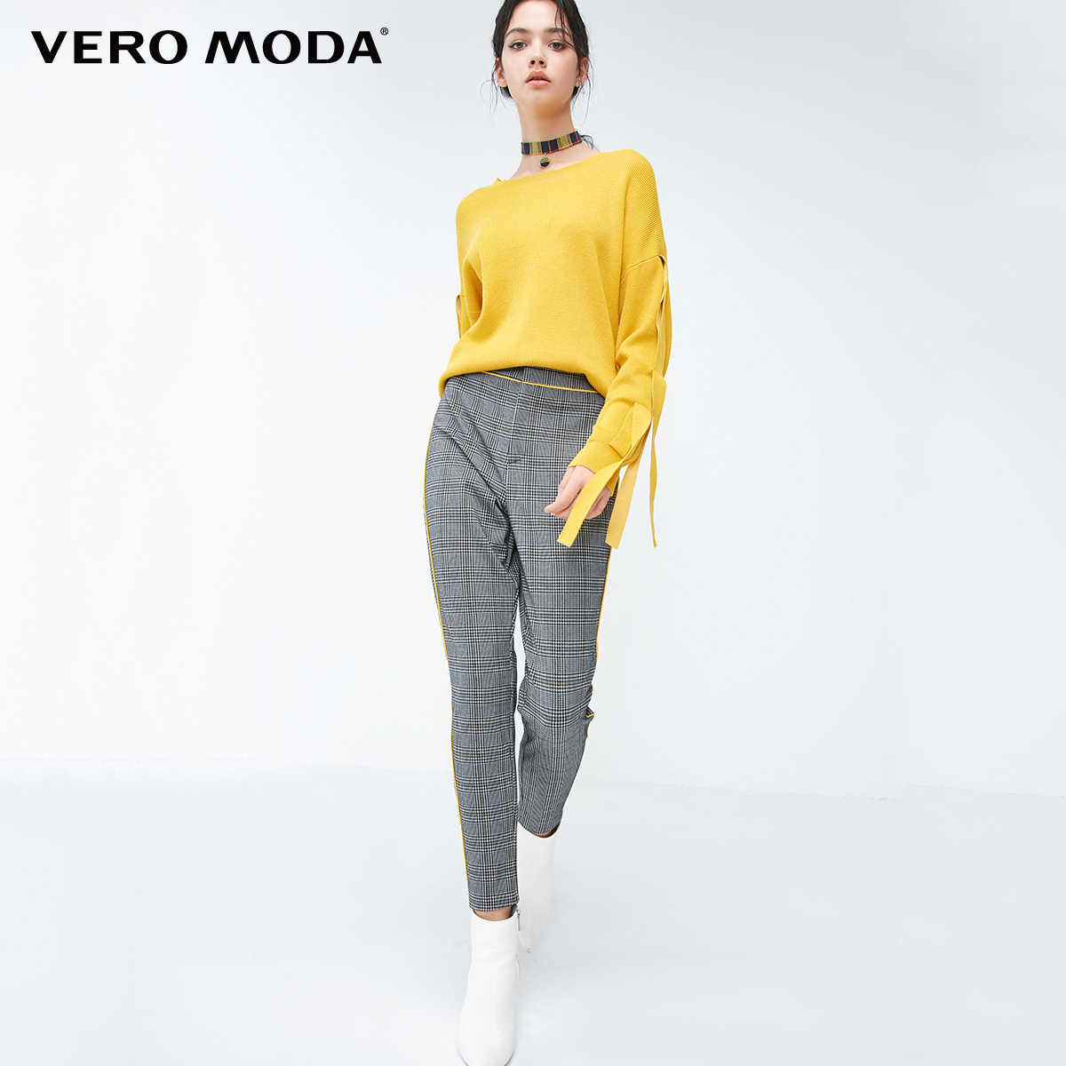 Vero Moda 2019 New Arrivals Houndstooth Pattern Selvaged Slim Fit Casual Pants | 318365504