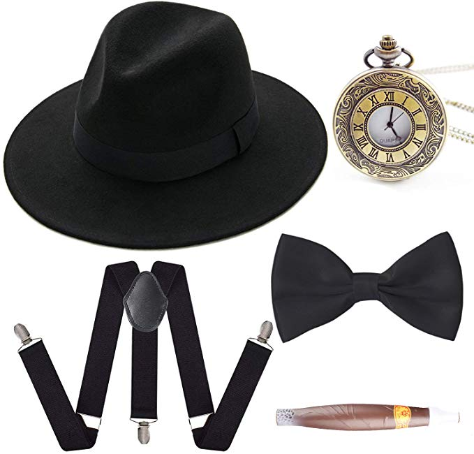 Drop Shipping 1920s Mens Gatsby Gangster Costume Accessories Set Panama Manhattan Fedora Suspenders Bow Tie Cigar