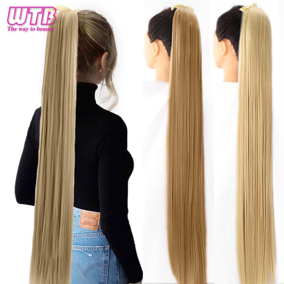Wtb cabelo longo, seda reta sintético, cordão de cavalo para mulheres, clipe no rabo falso, extensões de cabelo 80cm