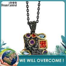 DreamCarnival1989 Neo-Gothic Necklace for Women Vintage Black Gold Colorful CZ Cute Square Costume Jewelry Collier Bijoux WP6481(China)