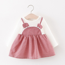 2019 Baby Kids Girl Dresses Spring Chidlren Clothes Toddler Girls Dress Baby Cartoon Long Sleeve Fake Two-piece Princess Dress#E