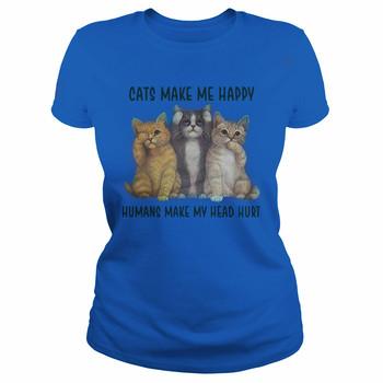 Koty sprawiają że jestem szczęśliwy ludzie sprawiają że moja głowa boli damski T-Shirt tanie i dobre opinie LENGDANU COTTON SHORT REGULAR Sukno Drukuj Na co dzień Z okrągłym kołnierzykiem