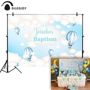 Allenjoy Baby Shower tło chrzest balony niebo niebieskie chmury urodziny tło noworodka chrzest Party Photocall Photophone