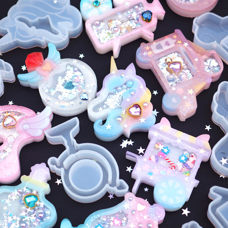 New Shaker Silicone Mold Resin Shaker Charm DIY Decoden Cabochon Making Kawaii Resin Art Supplies Epoxy Resin Molds Uv Resin