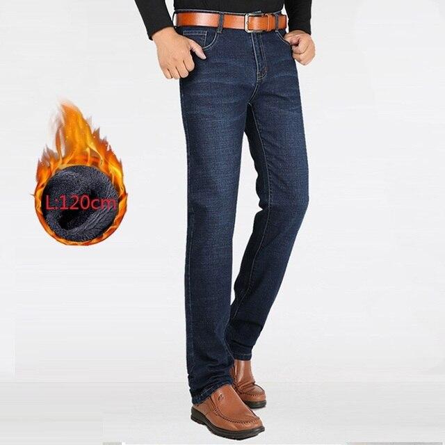 Męskie zimowe jeansy 2020 proste grube ciepłe bardzo długi duże wysokie ubrania spodnie dżinsowe męskie spodnie kowbojskie czarne męskie jeansy z polaru