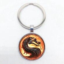 New Mortal Kombat Evil Dragon Keychain High Quality Round Glass Pendant Keychain Men's Gift
