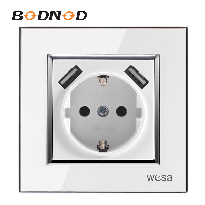 Double USB One Socket Ground With White Acrylic Patch Frame European Standard Wall Adapter 5v 2A Connector Output Socket
