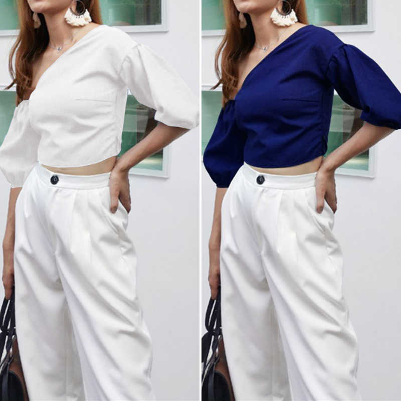 2020 Celmia 여성 패션 긴 소매 셔츠 플러스 사이즈 솔리드 콜드 숄더 블라우스 캐주얼 루즈 탑스 숙녀 우아한 작업 블라우스