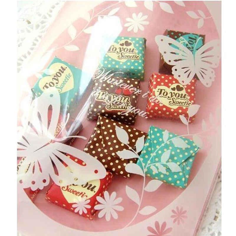 Hot 100 Chiếc Bướm Hồng Nhựa Bánh Bao Bì Túi Cupcake Bọc Tự Dính Túi 13X19 Cm Bướm In Hình túi Hộp