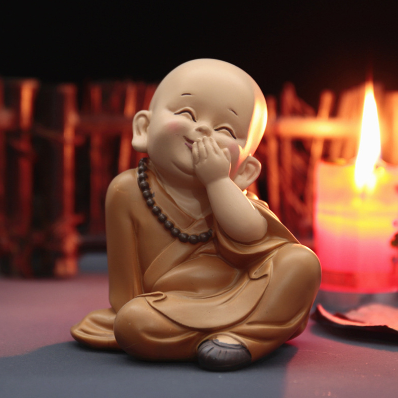 Buddhist Small Monk Statues Figurine Sculpture Handmade Car Home Decorations Kids Adult Wedding Engagement