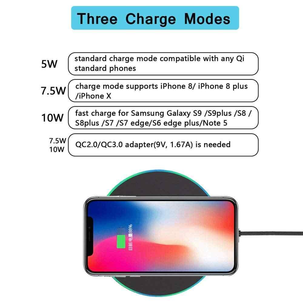 10 Вт Qi Беспроводное зарядное устройство для iPhone X XS MAX XR 8 plus быстрая зарядная док-станция для samsung S8 S9 S10 Plus Note 9 USB зарядная площадка для телефона