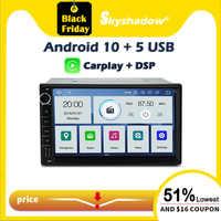 Carplay-Radio multimedia con GPS para coche, Radio con reproductor, navegador navi, Bluetooth, Wifi, DVD, 2 Din, Universal, DSP, PX6, IPS, Android 10, 4GB + 64GB