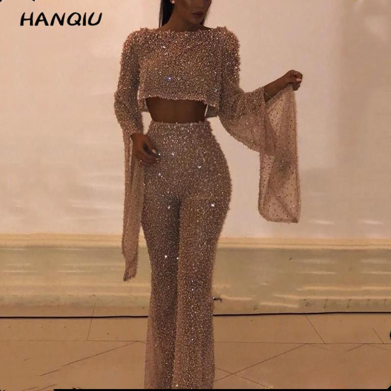 2019 Rompers Womens Jumpsuit Korean Party Sexy Backless Gold Sequin Jumpsuit Women Long Sleeve Jumpsuit Overalls Streetwear