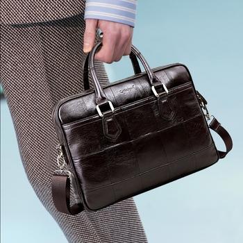 Szewc legenda marka projektant mężczyzna prawdziwe skórzana teczka torba dla męskie torby typu crossbody dla laptopa 15 #8222 torba biznesowa 0907159-A-1 tanie i dobre opinie Cobbler Legend Prawdziwej skóry Skóra bydlęca Cowhide leather Ił kieszeń Poliester Mężczyźni 27cm zipper Wnętrze breloczków łańcucha