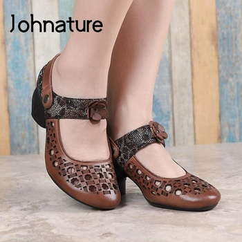 Johnature Retro Sandals Genuine Leather Women Shoes 2020 New Summer Mixed Colors Casual Flower High Heels Leisure Ladies Sandals