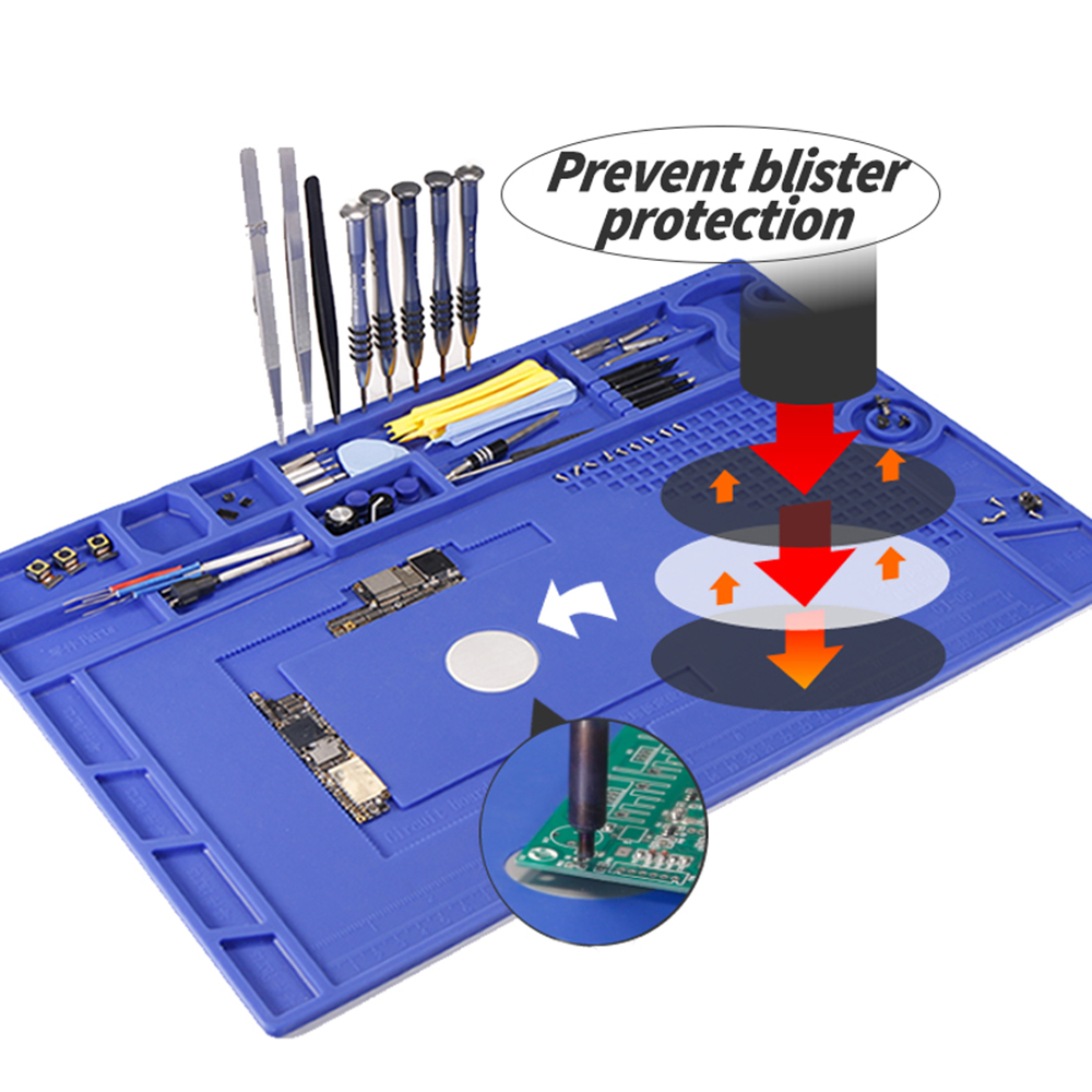 YIHUA Prevent Blister Protection Heat Insulation Working Mat Phone Repair Soldering Silicone Mat Heat Resistant Maintenance Mat
