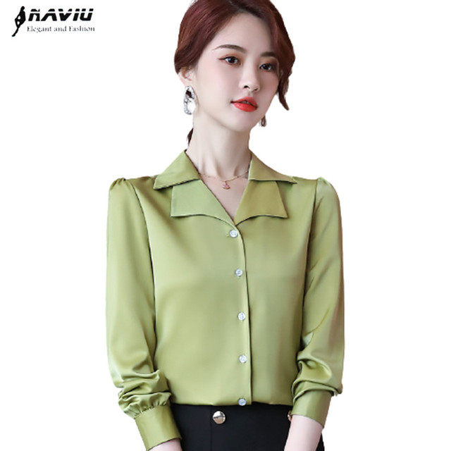 Double Neck Satin Shirt Women Long Sleeve Spring New Temperament Fashion Casual Blouses Office Ladies Formal Work Tops 1