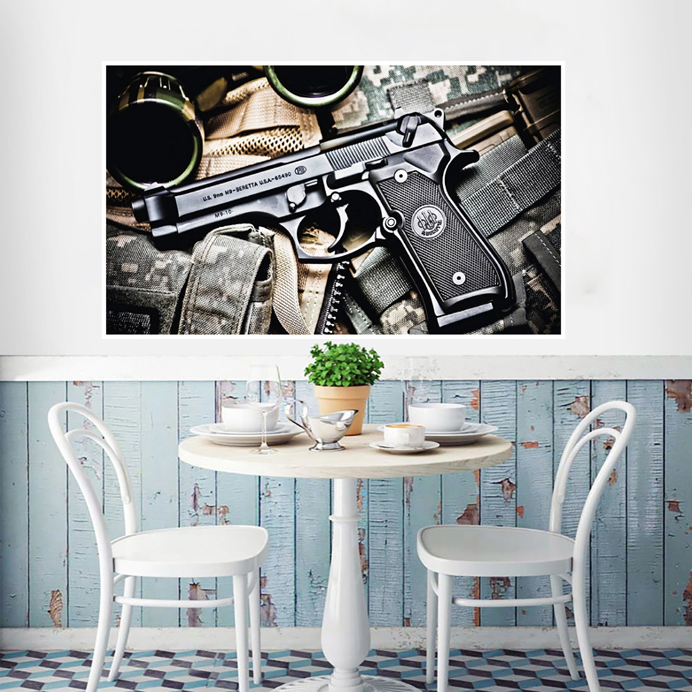 Pistol decoration painting poster wall paste Revolver Weapon Gun Pocket watch Wall Art Home Decor Canvas Pictures HD Prints Gun