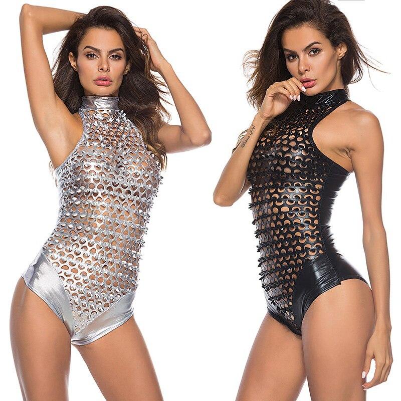 Feminino macio couro de patente collant perfurador buraco sexy lingeries transparente feminino bodysuit quente erótico catsuit peixe escala roupas
