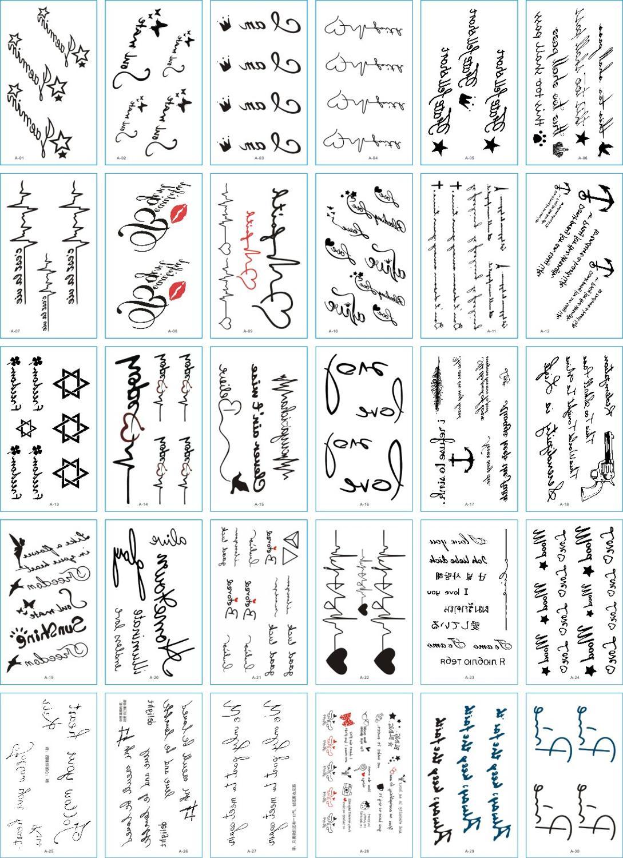30pcs Waterproof Temporary Tatoo Fake Tattoo Sticker English Letter Tattoos Love Tatouage Hand Foot Tatto For Women Girl Kids