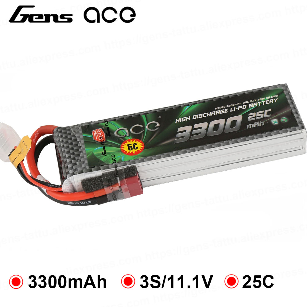 Gens ace <font><b>Lipo</b></font> Battery <font><b>3300mAh</b></font> 11.1V 14.8V <font><b>Lipo</b></font> 3S <font><b>4S</b></font> Battery 25C Deans Plug for Heli Quadcopter High Performance image