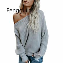 FENGGUILAI One Shoulder Sweater Women Loose Casual Pullovers And Sweaters Woman Autumn Solid Sweet Pullover asymmetric shoulder solid pullover