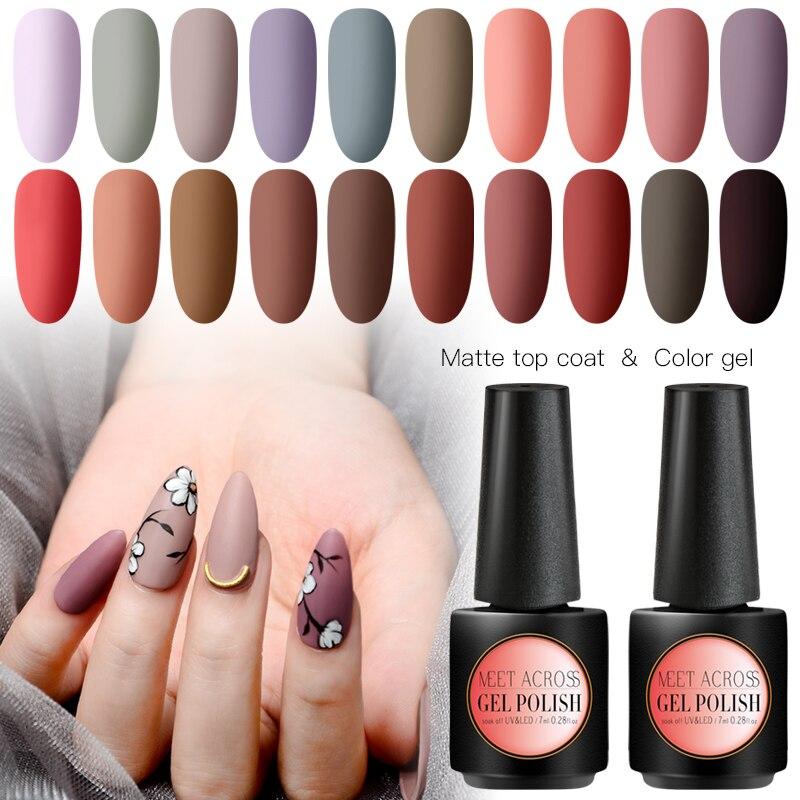 MEET ACROSS Matte Color UV Gel Nail Polish 7ml Soak Off Nail Art Gel Varnish Manicure Semi Permanent Nail Gel Uv Polish in Nail Gel from Beauty Health