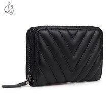 Luxury Women Genuine Leather Diamond Lattice Clutch Bag Short Wallet Pattern Buc