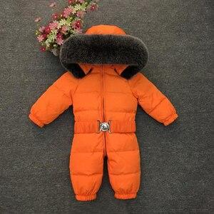 Image 5 - 2020 חורף חם למטה תינוק בני סרבלי סלעית נדל פרווה בנות Rompers ארוך שרוול יוניסקס סרבל תינוקות סרבל פעוט חליפת שלג